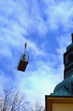 Demontáž kostelní báně akříže 2019